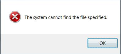 Windows Cannot Find The File Specified